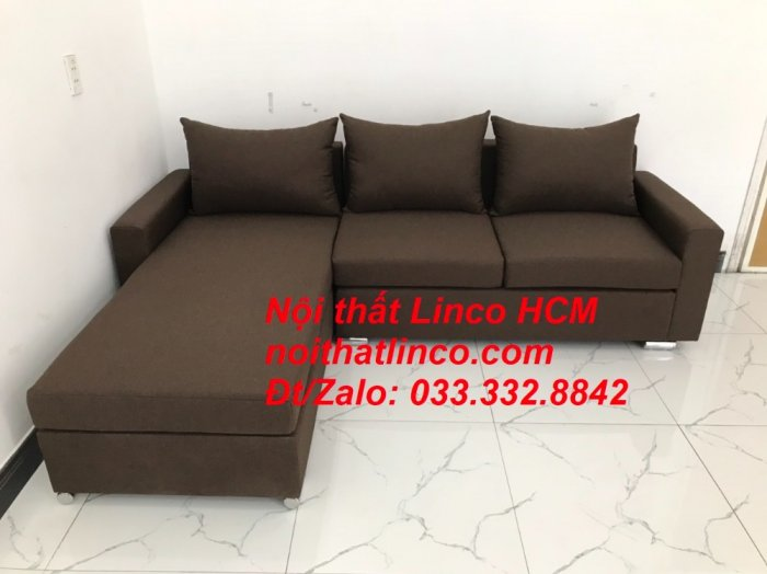 Bộ ghế sofa góc L giá rẻ nâu đen đậm | Sofa L phòng khách | Nội thất Linco Tphcm HCM Hồ Chí Minh Sài Gòn SG8