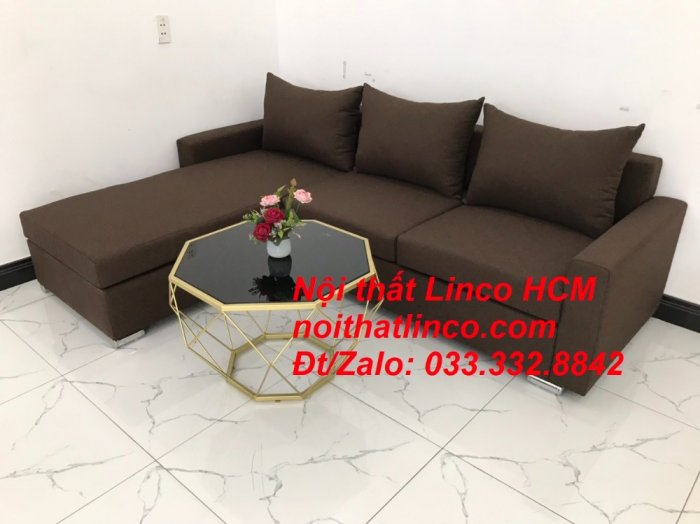 Bộ ghế sofa góc L giá rẻ nâu đen đậm | Sofa L phòng khách | Nội thất Linco Tphcm HCM Hồ Chí Minh Sài Gòn SG7
