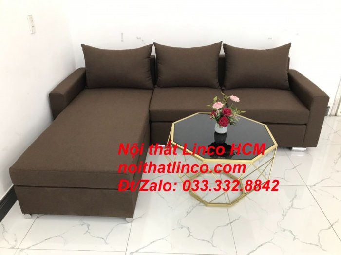 Bộ ghế sofa góc L giá rẻ nâu đen đậm | Sofa L phòng khách | Nội thất Linco Tphcm HCM Hồ Chí Minh Sài Gòn SG6