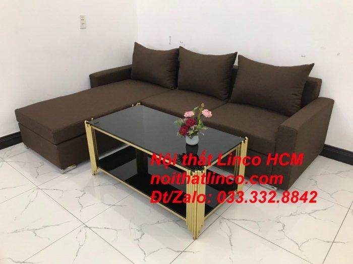 Bộ ghế sofa góc L giá rẻ nâu đen đậm | Sofa L phòng khách | Nội thất Linco Tphcm HCM Hồ Chí Minh Sài Gòn SG5