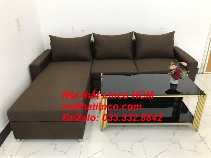 Bộ ghế sofa góc L giá rẻ nâu đen đậm | Sofa L phòng khách | Nội thất Linco Tphcm HCM Hồ Chí Minh Sài Gòn SG4