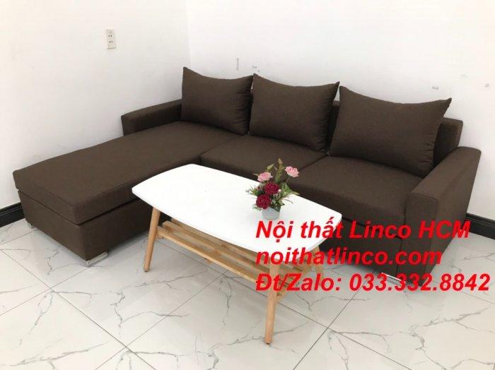 Bộ ghế sofa góc L giá rẻ nâu đen đậm | Sofa L phòng khách | Nội thất Linco Tphcm HCM Hồ Chí Minh Sài Gòn SG3