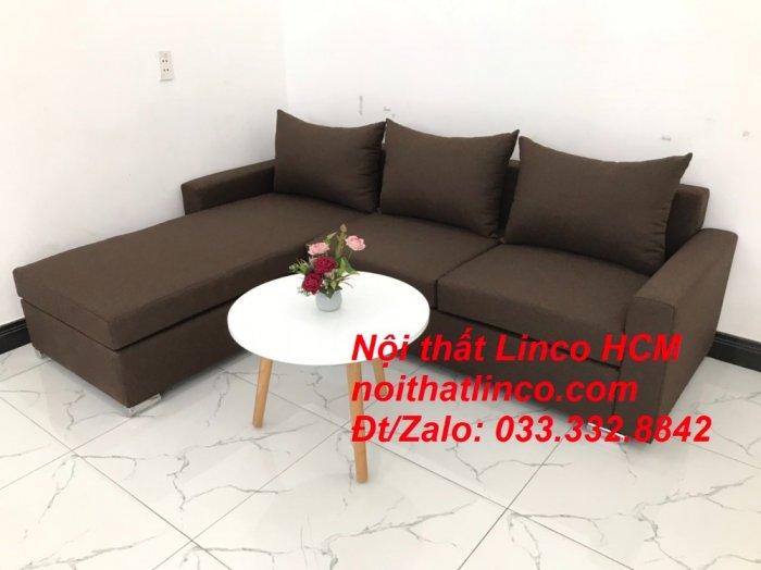 Bộ ghế sofa góc L giá rẻ nâu đen đậm | Sofa L phòng khách | Nội thất Linco Tphcm HCM Hồ Chí Minh Sài Gòn SG1