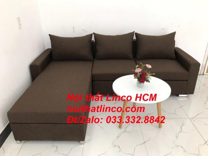 Bộ ghế sofa góc L giá rẻ nâu đen đậm | Sofa L phòng khách | Nội thất Linco Tphcm HCM Hồ Chí Minh Sài Gòn SG0
