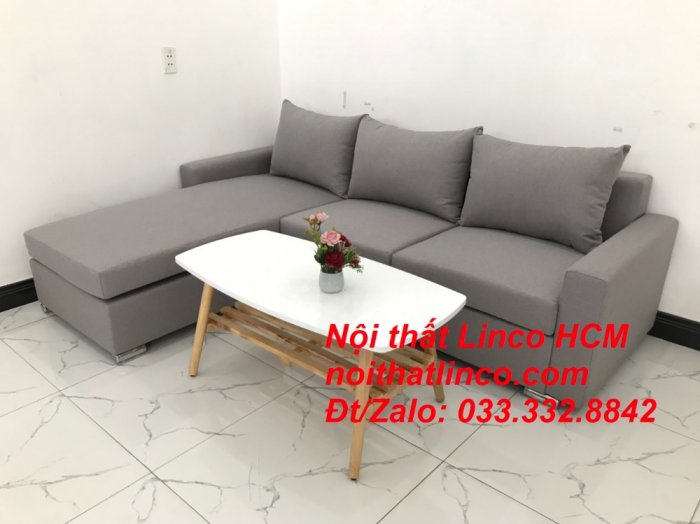 Sofa góc Tphcm | Bộ ghế sofa góc L xám trắng giá rẻ | Nội thất Linco HCM Sài Gòn Tphcm SG Hồ Chí Minh3