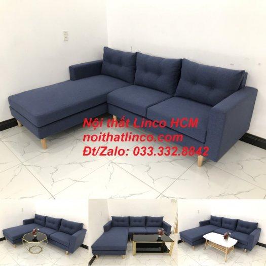 Bộ ghế sofa góc L đẹp, sofa góc dài 2m2 nhỏ xanh dương đen | Nội thất Linco HCM Tphcm Hồ Chí Minh Sài Gòn SG10