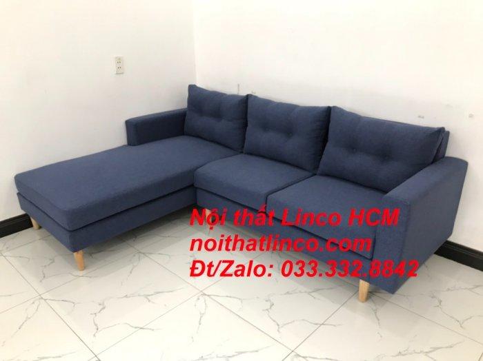 Bộ ghế sofa góc L đẹp, sofa góc dài 2m2 nhỏ xanh dương đen | Nội thất Linco HCM Tphcm Hồ Chí Minh Sài Gòn SG9