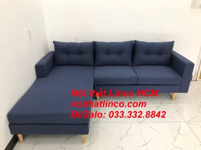 Bộ ghế sofa góc L đẹp, sofa góc dài 2m2 nhỏ xanh dương đen | Nội thất Linco HCM Tphcm Hồ Chí Minh Sài Gòn SG8