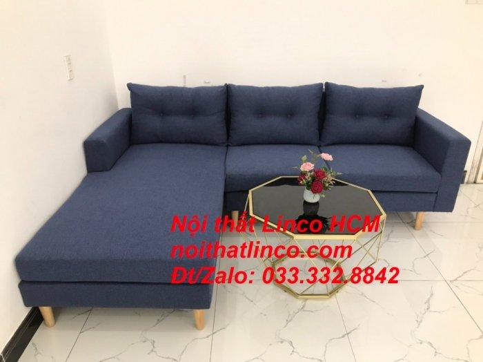 Bộ ghế sofa góc L đẹp, sofa góc dài 2m2 nhỏ xanh dương đen | Nội thất Linco HCM Tphcm Hồ Chí Minh Sài Gòn SG6