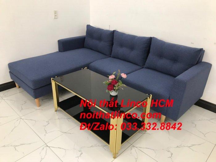Bộ ghế sofa góc L đẹp, sofa góc dài 2m2 nhỏ xanh dương đen | Nội thất Linco HCM Tphcm Hồ Chí Minh Sài Gòn SG5