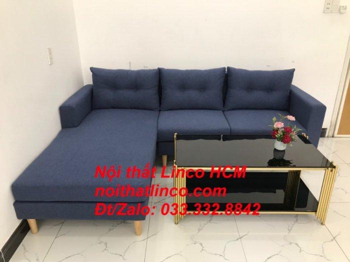 Bộ ghế sofa góc L đẹp, sofa góc dài 2m2 nhỏ xanh dương đen | Nội thất Linco HCM Tphcm Hồ Chí Minh Sài Gòn SG4