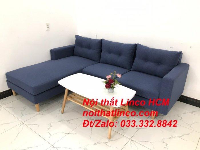 Bộ ghế sofa góc L đẹp, sofa góc dài 2m2 nhỏ xanh dương đen | Nội thất Linco HCM Tphcm Hồ Chí Minh Sài Gòn SG3