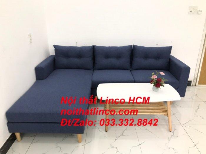 Bộ ghế sofa góc L đẹp, sofa góc dài 2m2 nhỏ xanh dương đen | Nội thất Linco HCM Tphcm Hồ Chí Minh Sài Gòn SG2