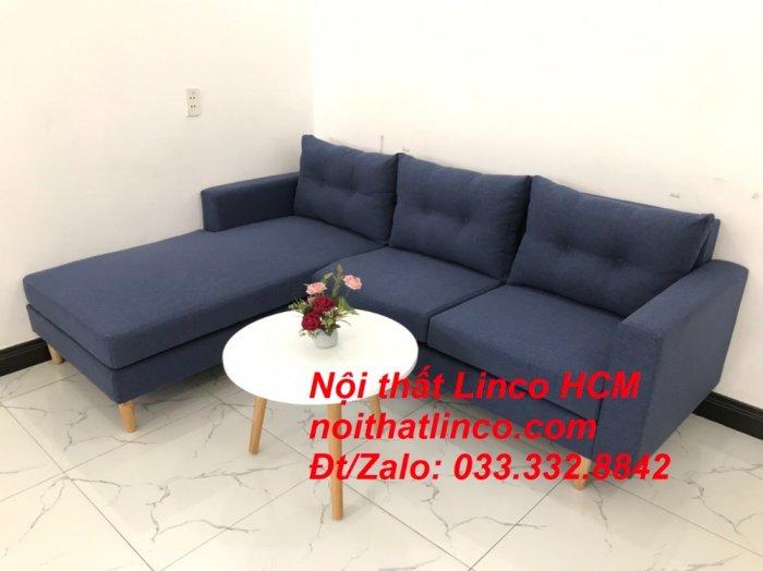 Bộ ghế sofa góc L đẹp, sofa góc dài 2m2 nhỏ xanh dương đen | Nội thất Linco HCM Tphcm Hồ Chí Minh Sài Gòn SG1