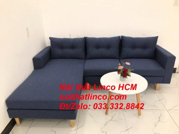 Bộ ghế sofa góc L đẹp, sofa góc dài 2m2 nhỏ xanh dương đen | Nội thất Linco HCM Tphcm Hồ Chí Minh Sài Gòn SG0