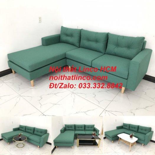 Bộ ghế sofa góc 2m2 giá rẻ, ghế sofa góc vải màu xanh ngọc | Nội thất Linco HCM Tphcm Hồ Chí Minh Sài Gòn SG10