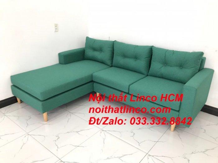 Bộ ghế sofa góc 2m2 giá rẻ, ghế sofa góc vải màu xanh ngọc | Nội thất Linco HCM Tphcm Hồ Chí Minh Sài Gòn SG9