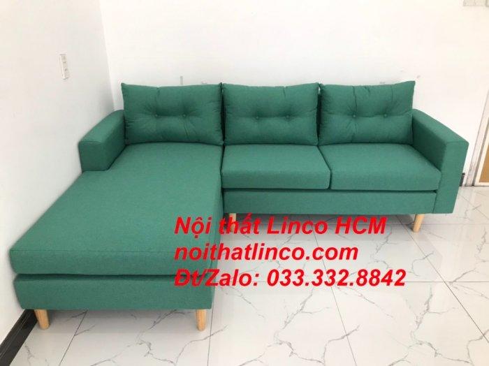 Bộ ghế sofa góc 2m2 giá rẻ, ghế sofa góc vải màu xanh ngọc | Nội thất Linco HCM Tphcm Hồ Chí Minh Sài Gòn SG8