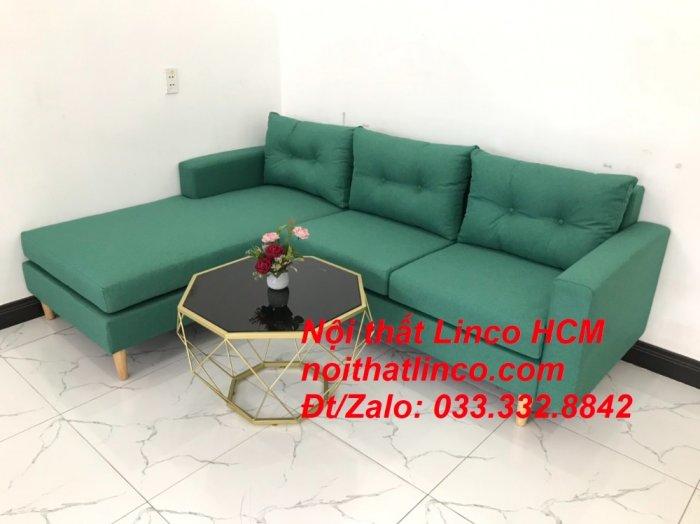 Bộ ghế sofa góc 2m2 giá rẻ, ghế sofa góc vải màu xanh ngọc | Nội thất Linco HCM Tphcm Hồ Chí Minh Sài Gòn SG7