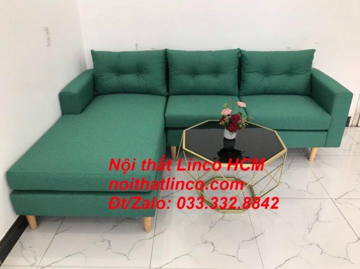 Bộ ghế sofa góc 2m2 giá rẻ, ghế sofa góc vải màu xanh ngọc | Nội thất Linco HCM Tphcm Hồ Chí Minh Sài Gòn SG6