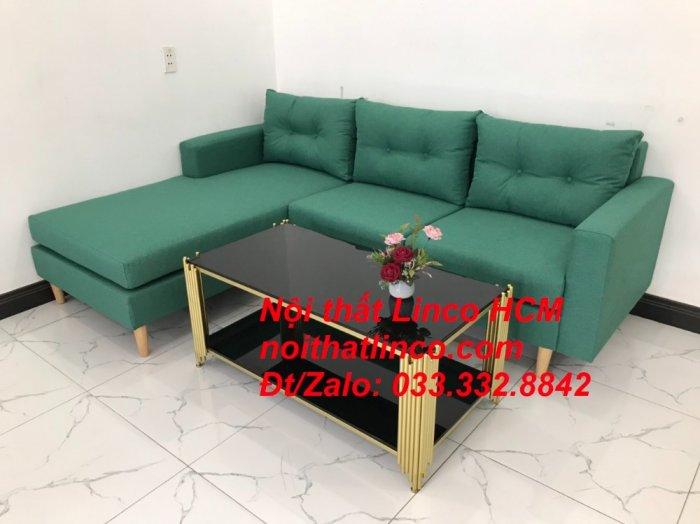 Bộ ghế sofa góc 2m2 giá rẻ, ghế sofa góc vải màu xanh ngọc | Nội thất Linco HCM Tphcm Hồ Chí Minh Sài Gòn SG5