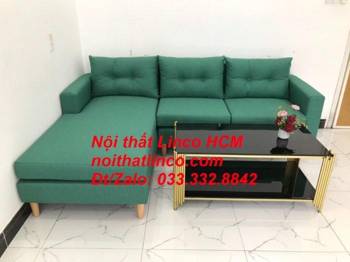 Bộ ghế sofa góc 2m2 giá rẻ, ghế sofa góc vải màu xanh ngọc | Nội thất Linco HCM Tphcm Hồ Chí Minh Sài Gòn SG4