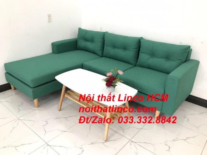 Bộ ghế sofa góc 2m2 giá rẻ, ghế sofa góc vải màu xanh ngọc | Nội thất Linco HCM Tphcm Hồ Chí Minh Sài Gòn SG3