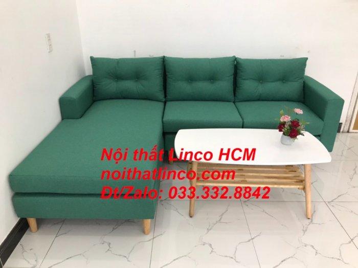 Bộ ghế sofa góc 2m2 giá rẻ, ghế sofa góc vải màu xanh ngọc | Nội thất Linco HCM Tphcm Hồ Chí Minh Sài Gòn SG2