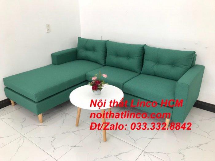 Bộ ghế sofa góc 2m2 giá rẻ, ghế sofa góc vải màu xanh ngọc | Nội thất Linco HCM Tphcm Hồ Chí Minh Sài Gòn SG1