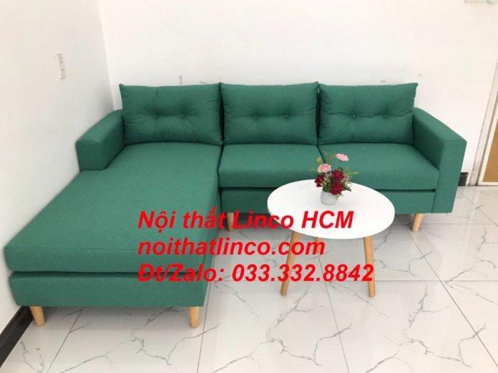 Bộ ghế sofa góc 2m2 giá rẻ, ghế sofa góc vải màu xanh ngọc | Nội thất Linco HCM Tphcm Hồ Chí Minh Sài Gòn SG0