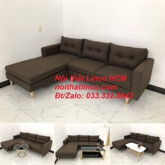 Bộ ghế sofa góc chữ L, sofa phòng khách hiện đại nâu đậm | Nội thất Linco Tphcm HCM Hồ Chí Minh Sài Gòn SG10