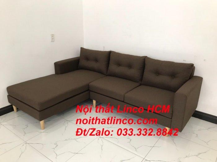 Bộ ghế sofa góc chữ L, sofa phòng khách hiện đại nâu đậm | Nội thất Linco Tphcm HCM Hồ Chí Minh Sài Gòn SG9