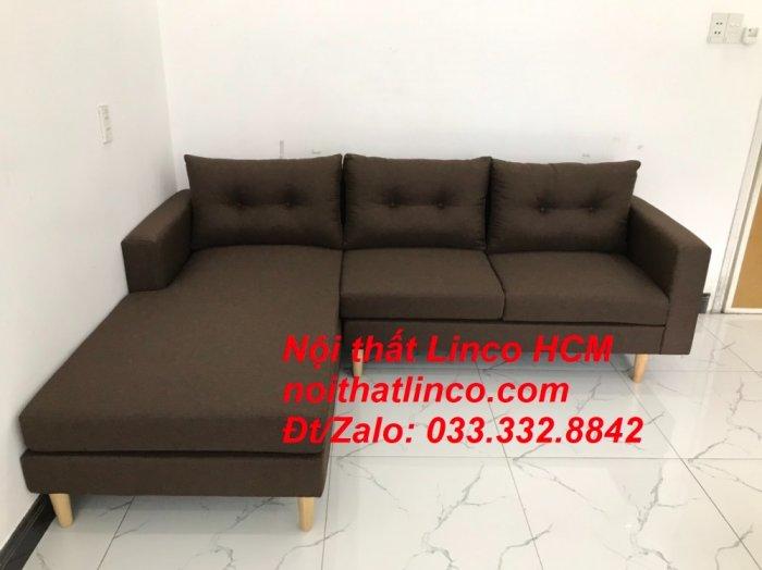 Bộ ghế sofa góc chữ L, sofa phòng khách hiện đại nâu đậm | Nội thất Linco Tphcm HCM Hồ Chí Minh Sài Gòn SG8