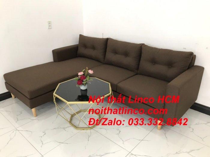 Bộ ghế sofa góc chữ L, sofa phòng khách hiện đại nâu đậm | Nội thất Linco Tphcm HCM Hồ Chí Minh Sài Gòn SG7