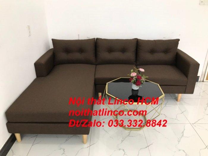Bộ ghế sofa góc chữ L, sofa phòng khách hiện đại nâu đậm | Nội thất Linco Tphcm HCM Hồ Chí Minh Sài Gòn SG6