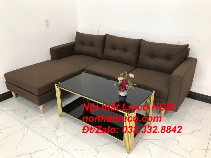 Bộ ghế sofa góc chữ L, sofa phòng khách hiện đại nâu đậm | Nội thất Linco Tphcm HCM Hồ Chí Minh Sài Gòn SG5