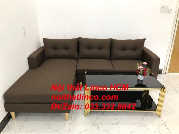Bộ ghế sofa góc chữ L, sofa phòng khách hiện đại nâu đậm | Nội thất Linco Tphcm HCM Hồ Chí Minh Sài Gòn SG4