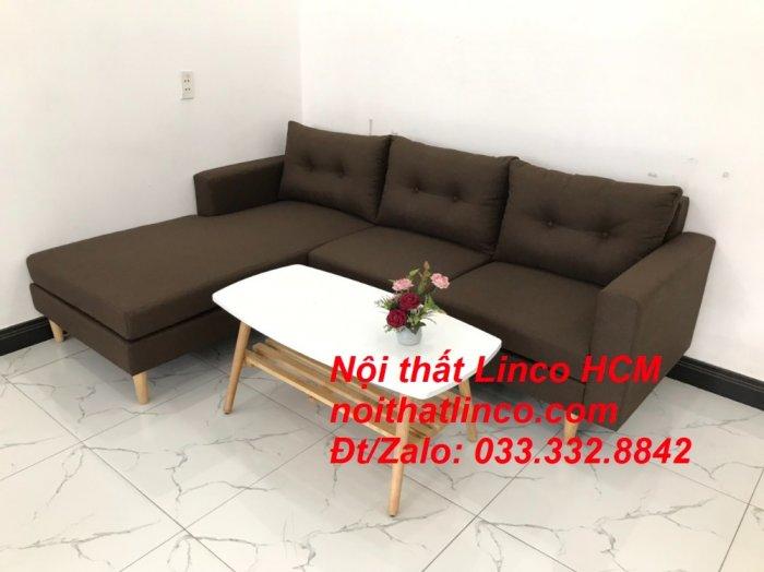 Bộ ghế sofa góc chữ L, sofa phòng khách hiện đại nâu đậm | Nội thất Linco Tphcm HCM Hồ Chí Minh Sài Gòn SG3