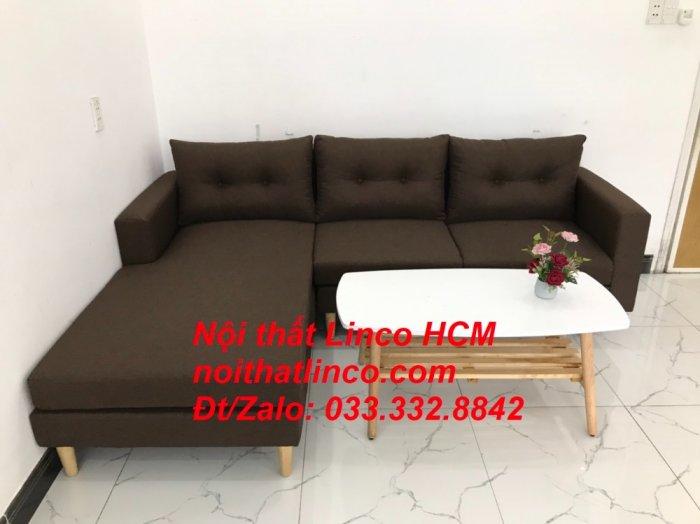 Bộ ghế sofa góc chữ L, sofa phòng khách hiện đại nâu đậm | Nội thất Linco Tphcm HCM Hồ Chí Minh Sài Gòn SG2