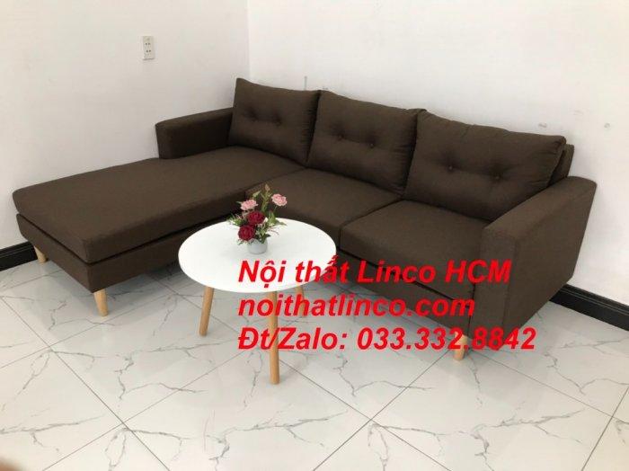Bộ ghế sofa góc chữ L, sofa phòng khách hiện đại nâu đậm | Nội thất Linco Tphcm HCM Hồ Chí Minh Sài Gòn SG1