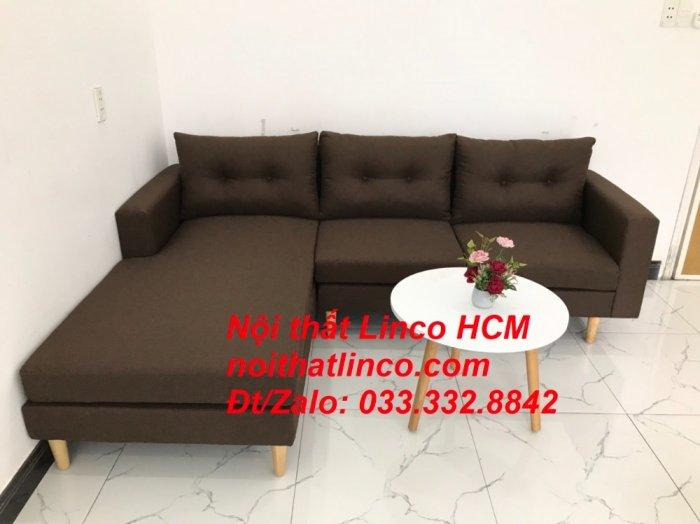 Bộ ghế sofa góc chữ L, sofa phòng khách hiện đại nâu đậm | Nội thất Linco Tphcm HCM Hồ Chí Minh Sài Gòn SG0