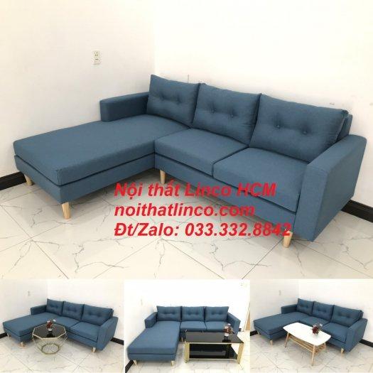 Bộ ghế sofa góc phòng khách   Sofa góc L xanh dương giá rẻ   Nội thất Linco HCM Tphcm Hồ Chí Minh Sài Gòn SG10