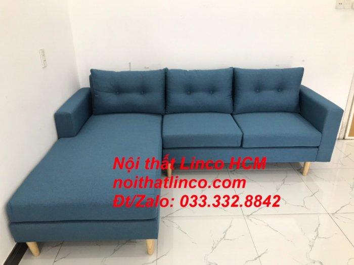 Bộ ghế sofa góc phòng khách   Sofa góc L xanh dương giá rẻ   Nội thất Linco HCM Tphcm Hồ Chí Minh Sài Gòn SG8