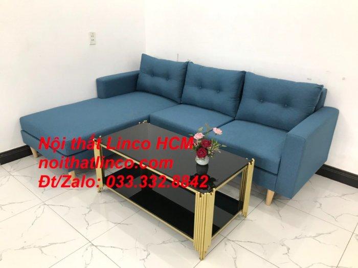 Bộ ghế sofa góc phòng khách   Sofa góc L xanh dương giá rẻ   Nội thất Linco HCM Tphcm Hồ Chí Minh Sài Gòn SG5