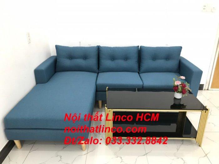 Bộ ghế sofa góc phòng khách   Sofa góc L xanh dương giá rẻ   Nội thất Linco HCM Tphcm Hồ Chí Minh Sài Gòn SG4