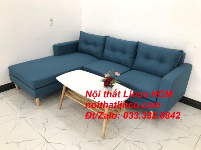 Bộ ghế sofa góc phòng khách   Sofa góc L xanh dương giá rẻ   Nội thất Linco HCM Tphcm Hồ Chí Minh Sài Gòn SG3