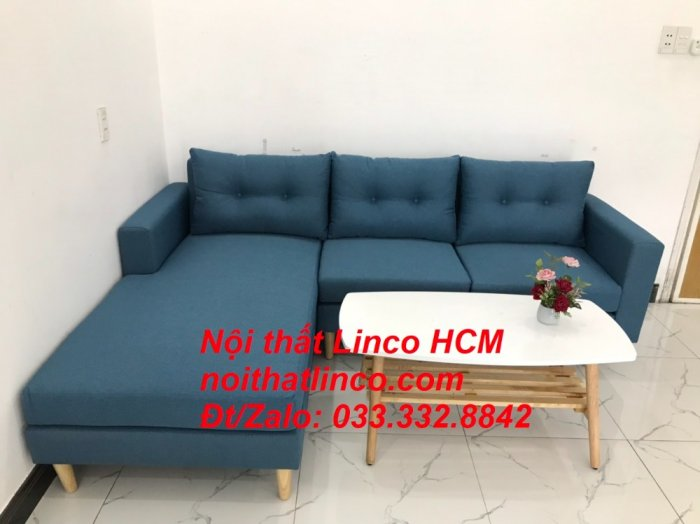 Bộ ghế sofa góc phòng khách   Sofa góc L xanh dương giá rẻ   Nội thất Linco HCM Tphcm Hồ Chí Minh Sài Gòn SG2
