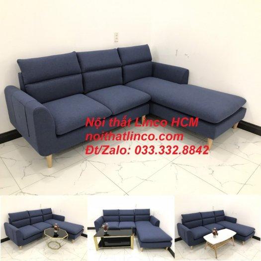 Bộ ghế sofa góc L phòng khách đẹp xanh dương đen bọc vải   Nội thất Linco Tphcm HCM Hồ Chí Minh Sài Gòn SG10