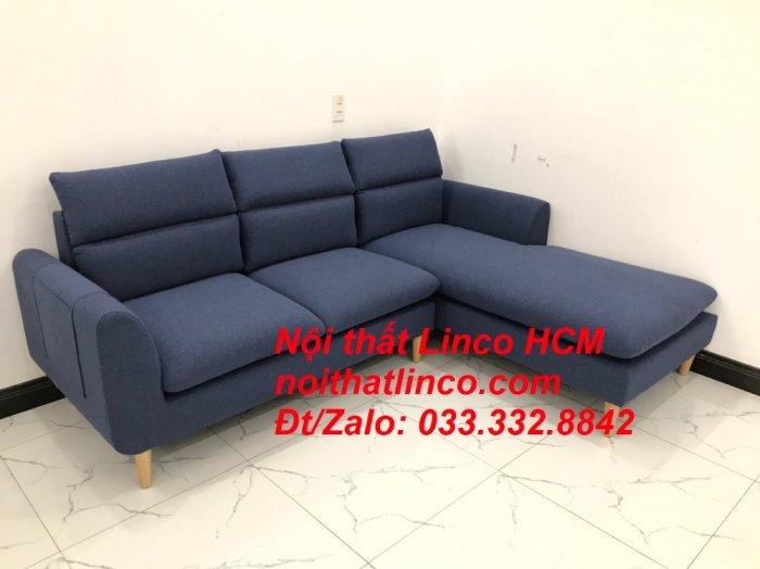 Bộ ghế sofa góc L phòng khách đẹp xanh dương đen bọc vải   Nội thất Linco Tphcm HCM Hồ Chí Minh Sài Gòn SG9