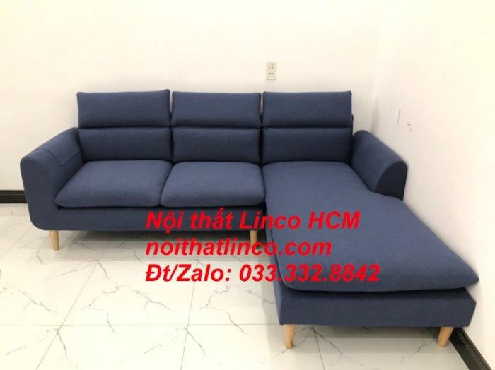Bộ ghế sofa góc L phòng khách đẹp xanh dương đen bọc vải   Nội thất Linco Tphcm HCM Hồ Chí Minh Sài Gòn SG8